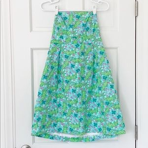 LILLY PULITZER dress size 6 green blue strapless